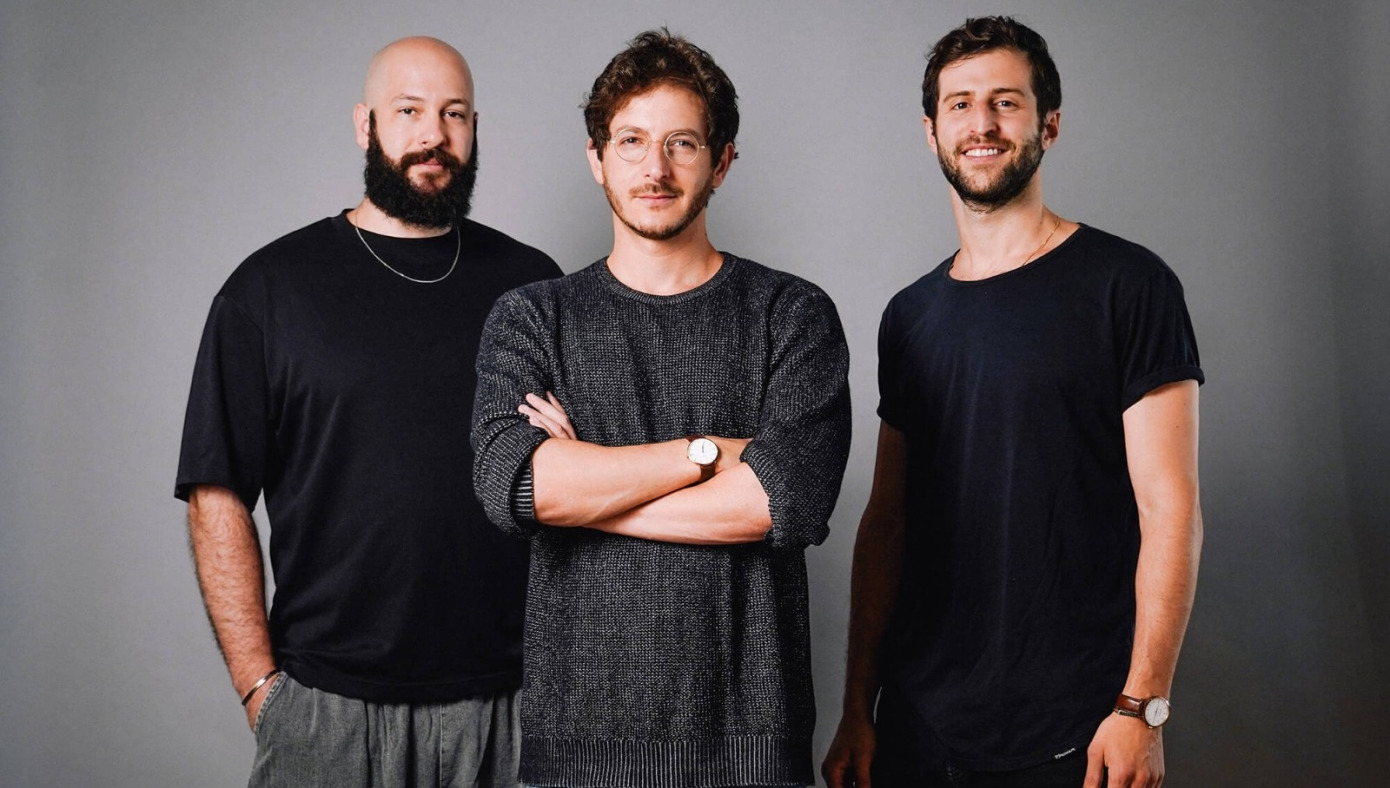 Tailor Brands co-founders, from left, Nadav Shatz, Yali Saar and Tom Lahat/Tailor Brands